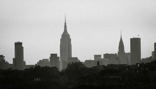 Empire State Building And Chrysler Building Viewed From Citi Field - Black And White Version; Queens, New York