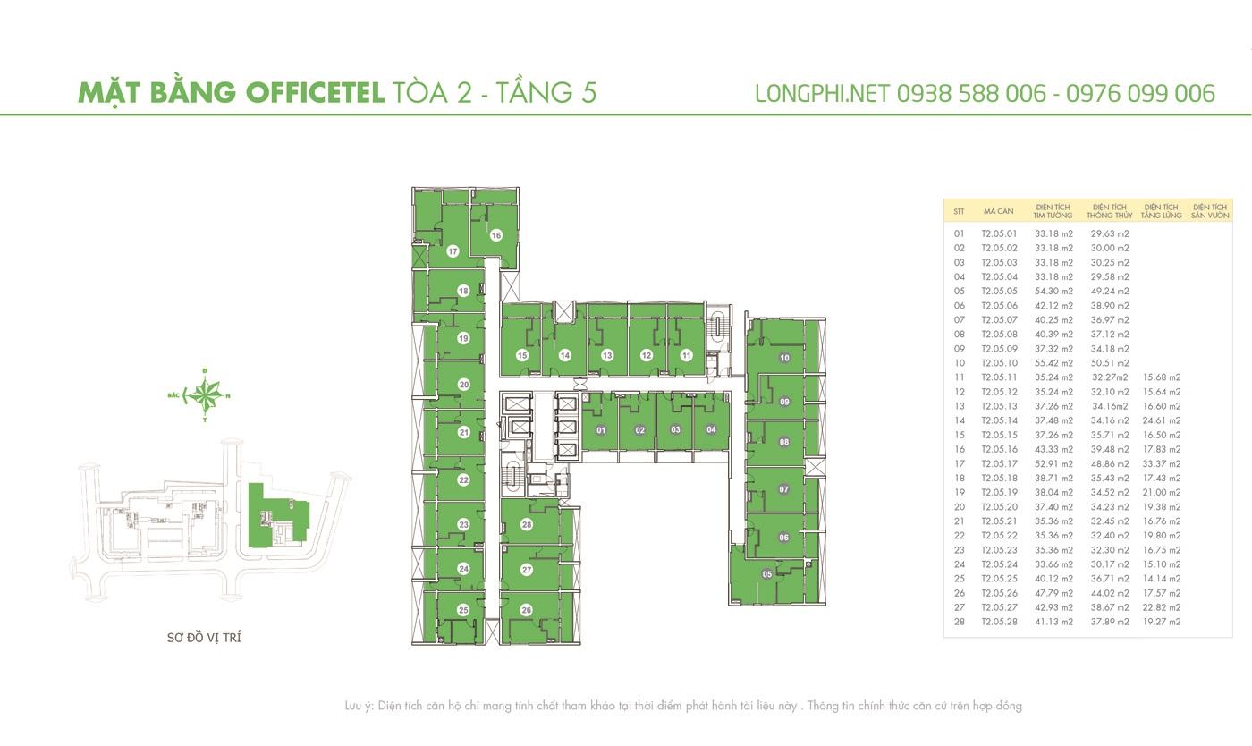 Mặt bằng căn hộ officetel M-One tầng 5 tháp T2.