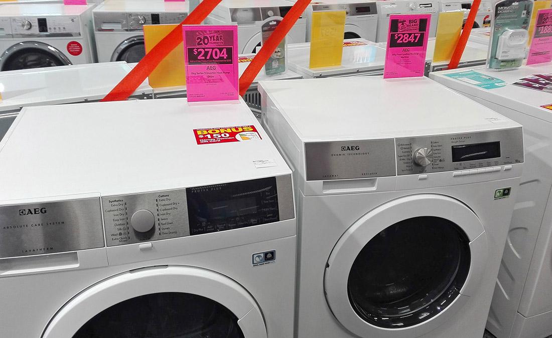 AEG Trockner und Waschmaschine bei Harvey Norman, Neuseeland