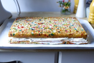 confetti sheet cake, stacked and filled