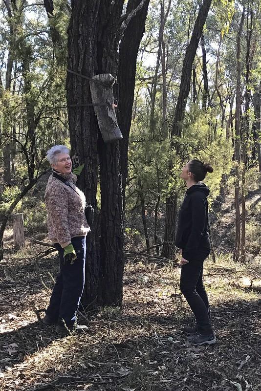Jennifer and Shoanna with nest  log