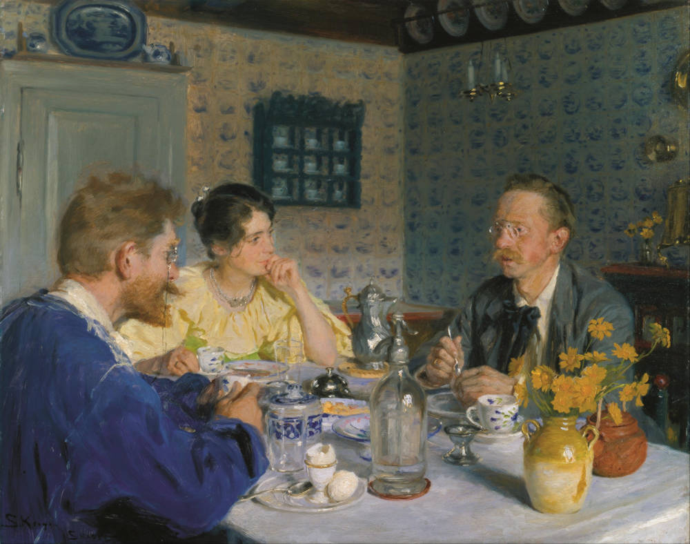 A breakfast. The artist, his wife and the writer Otto Benzon by Peder Severin Krøyer, 1893