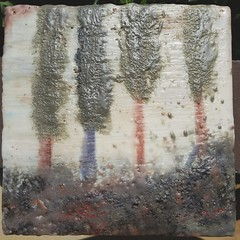 """Are those cedars or cypresses?"" ""Yes.""  oil and encaustic on wood"