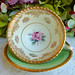 Paragon Bone China Porcelain Cup & Saucer Roses Green Gold Encrusted