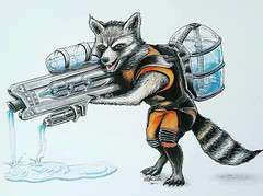 #Repost @sklein_art ・・・ ***Color Version!***... Sooo after many months of putting it off because of not being confident in creating the water effect...I FINALLY finished Rocket Raccoon with his newest weapon..a Watergun!! I wanted to surprise my friends s