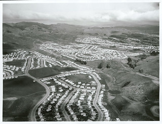 Aerial view of Porirua East looking South West.