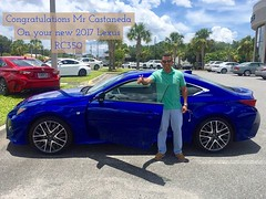 Congratulations to Mr. Castaneda on the purchase of his new 2017 #Lexus #RC350 from Lexus #OrangePark!
