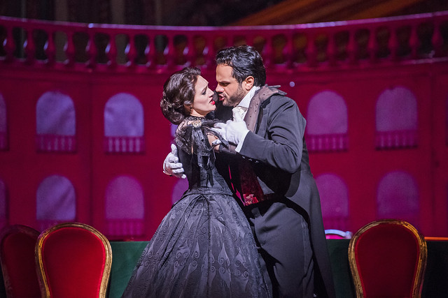 Ekaterina Bakanova as Violetta and Atalla Ayan as Alfredo in La traviata, The Royal Opera © 2017 ROH. Photographed by Tristram Kenton