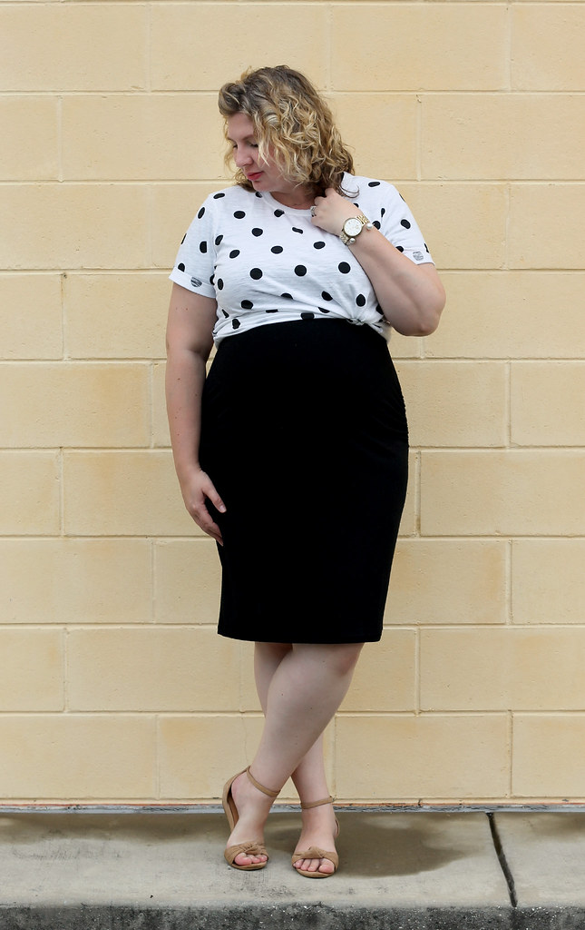 dot dot tee, maternity black dress, wedge sandals 4