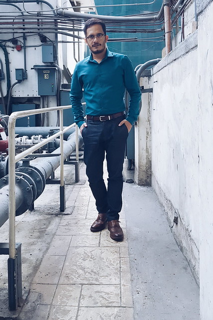 halfwhiteboy - teal shirt and denim fabric dress pants 06