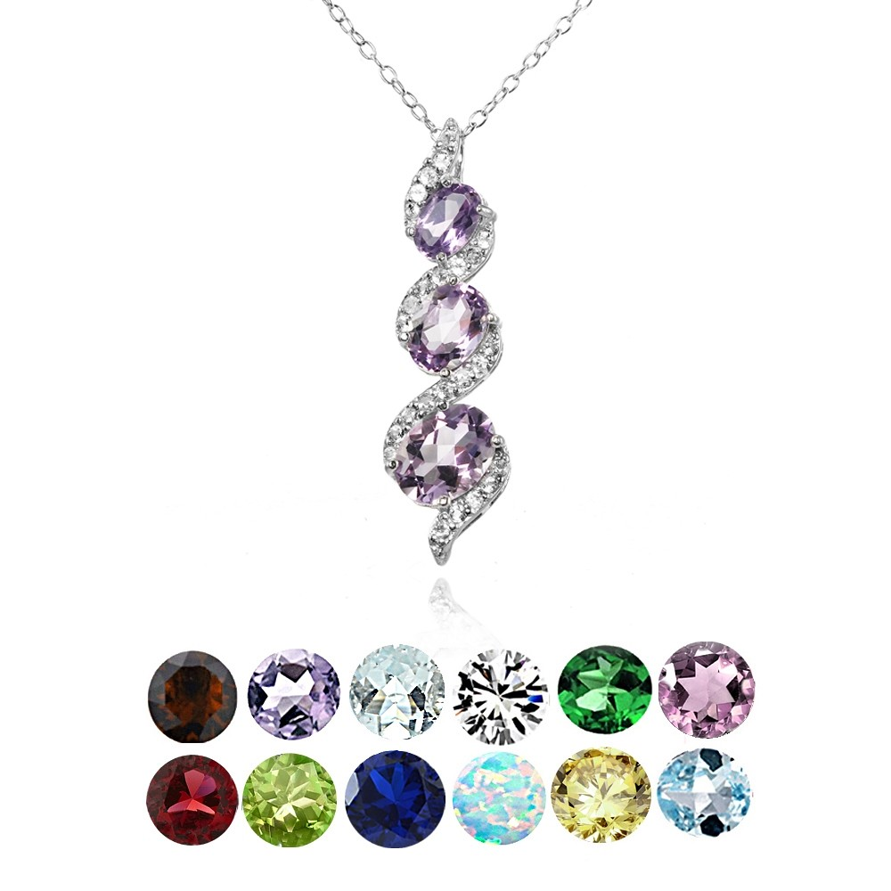 Sterling silver gemstone birthstone oval s design three for Fall into color jewelry walmart