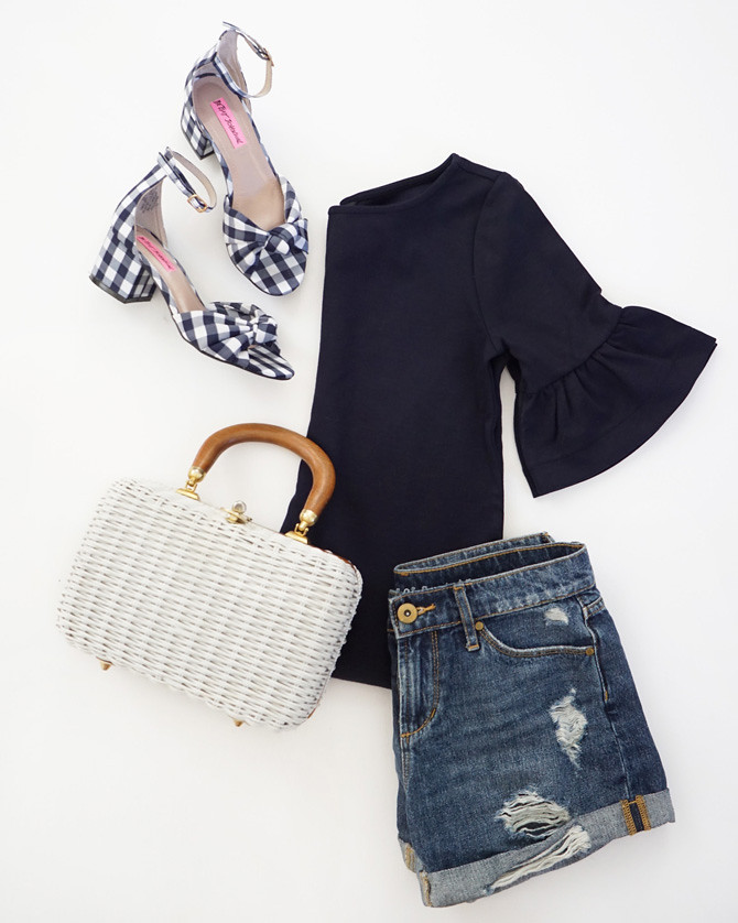 gingham sandals shoes summer outfit flat lay