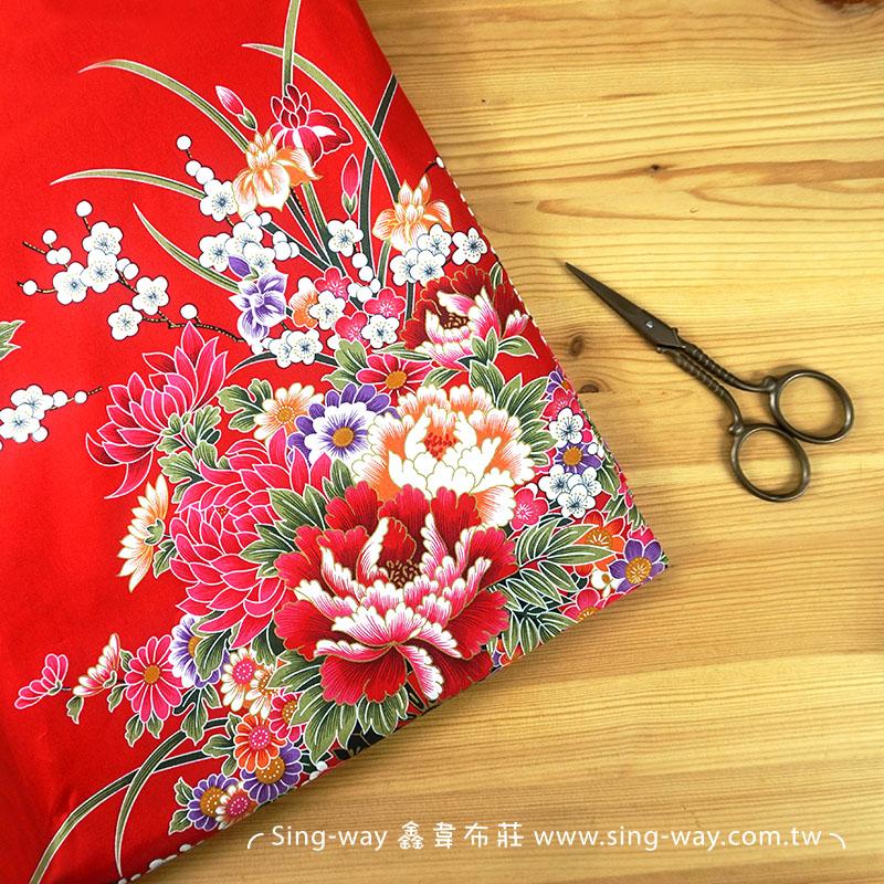 轉運梅花 復古懷舊花卉 客家花布 台灣花布 精梳棉床品床單布料 節慶佈置 紅包袋 CA490208