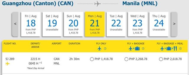 Guangzhou to Manila Promo August 21