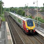 A Virgin Trains Class 221 Super Voyager cruises through Codsall