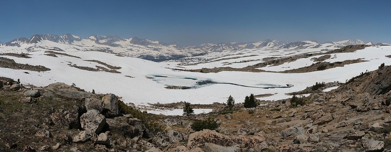 Looking down at the partially-melted Cony Lake from the Humphreys Lakes Trail