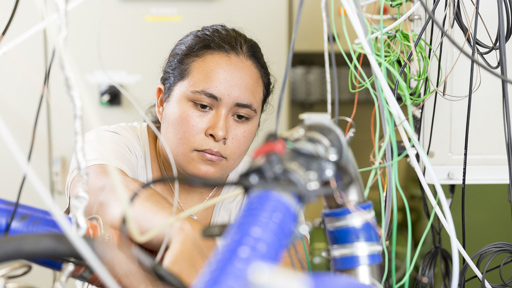 Francis Santana, MSc Automotive Engineering, works on an engine test cell