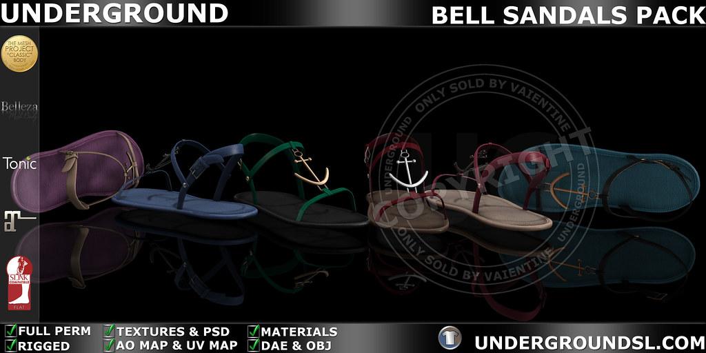 UG MESH BELL SANDALS PACK MP - SecondLifeHub.com