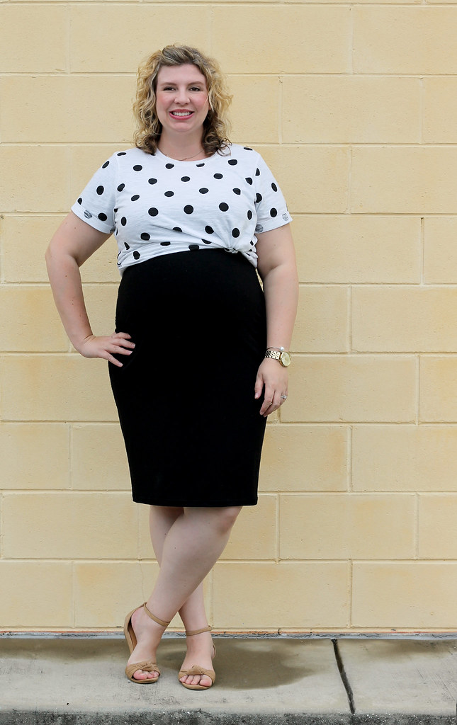 dot dot tee, maternity black dress, wedge sandals 1