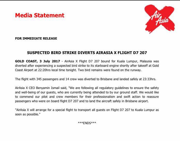 airasia media statement