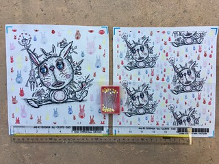Sad Bunny, large & small scale fabric test swatches, my original artwork done in artist pens & colored pencils. Available as fabric, wallpaper & gift wrap. https://www.spoonflower.com/fabric/6569173-sad-bunny-large-scale-by-amy_g.