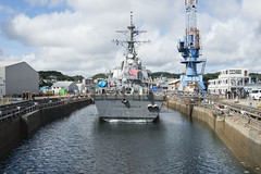 USS Fitzgerald (DDG 62) is positioned into Dry Dock 4 at Fleet Activities Yokosuka, July 11. (U.S. Navy/MC2 Raymond D. Diaz III)