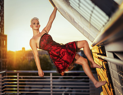 denverstyle coloradostyle model girl woman beauty dress cocktail red sun sunset glow warm climb climbing rails strong