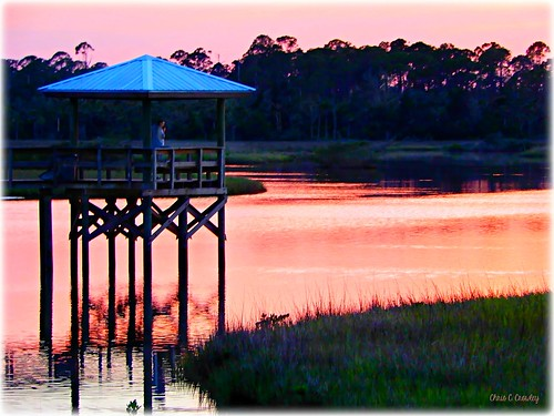 fishingwithacamera sprucecreekpark sunset water sprucecreek stricklandbay rosebay dock photographer roof reflections nature