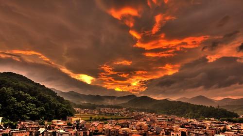 burning sunset