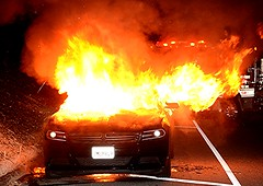 Sedan Catches Fire on State Route 118