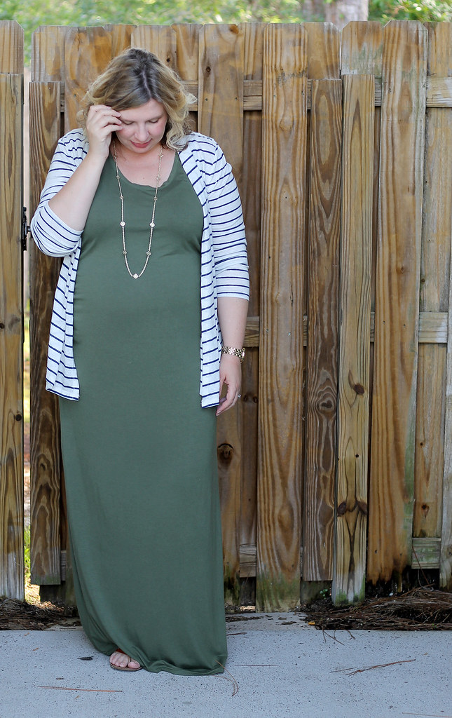 maternity green maxi, blue stripe cardigan 5