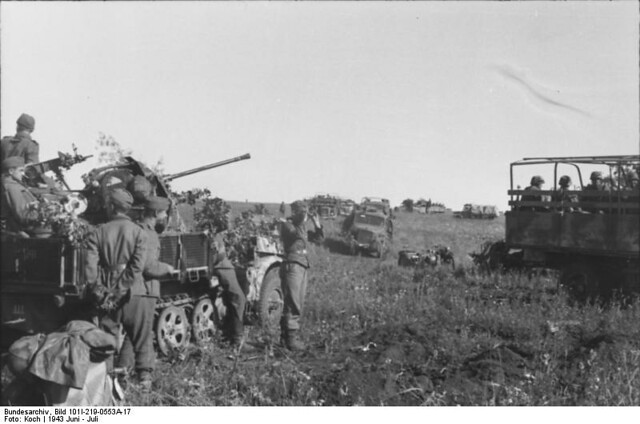 Κοντά στην Ποκρόφκα, γερμανικές μηχανοκίνητες δυνάμεις στα αριστερά και ένα ελαφρύ (20mm) πυροβόλο FLAK ενσωματωμένο σε ενα ημι-ερπυστριοφόρο στα δεξιά.