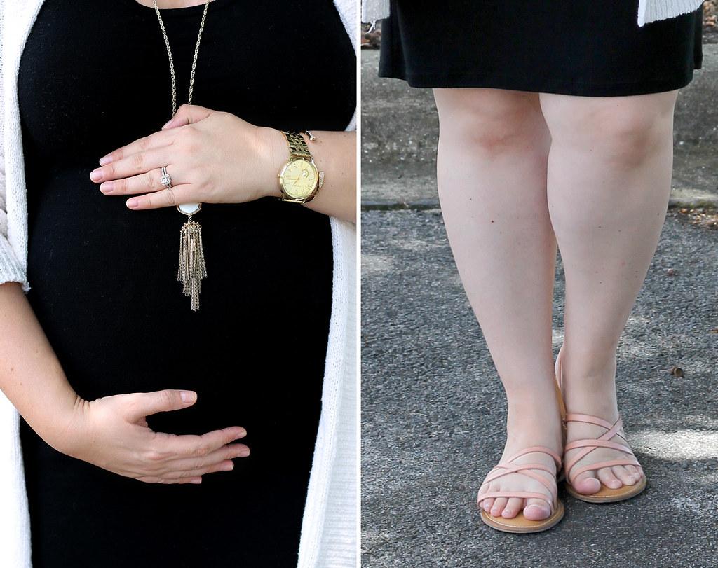 black maternity dress, cream open weave cardigan 1