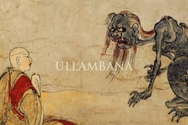 Maudgalyāyana meliat mendiang ibunya sebagai asal mula keberadaan Ullambana