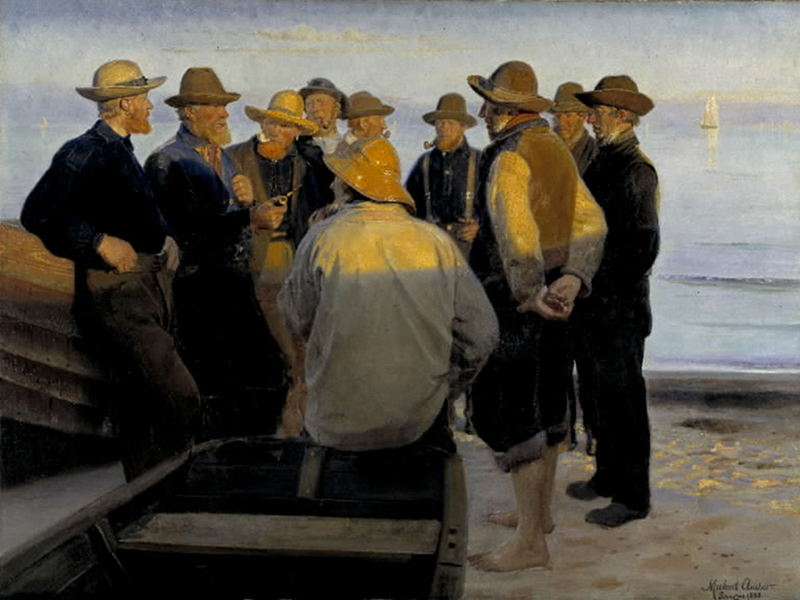 Fishermen on the Beach on a Quiet Summer Evening by Michael Ancher, 1888