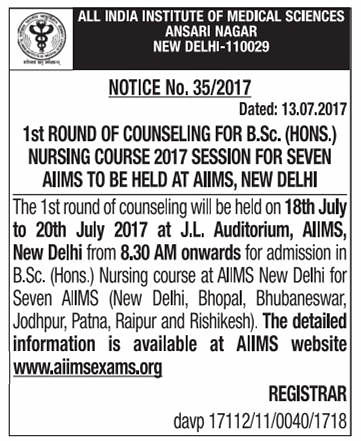 AIIMS BSc Nursing Counselling