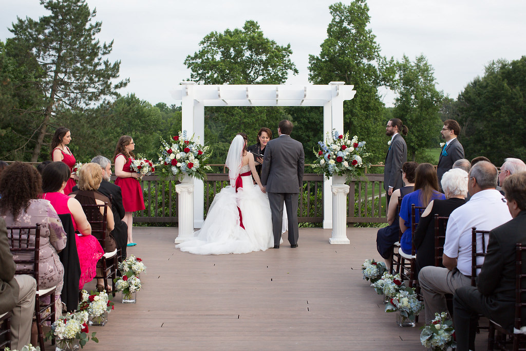 Jewish wedding with chuppah.