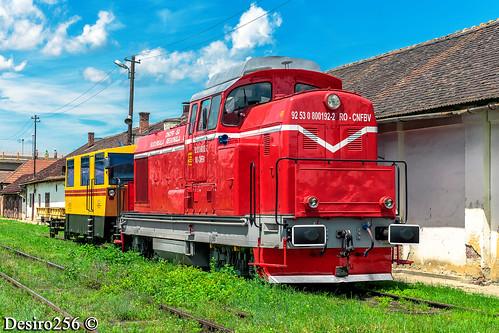 cfr trenuri trains cncfr sa ldh1250 040dhc uzinele 23 august faur bucuresti locomotiva diesel hidraulica ldh125 92 53 8001922 rocnfbv uic rr reparatie cu ridicare schema de vopsire rosu oras sibiu judet linie tren lucru robel lucrari miercurea sibiului cunta transport sine cale ferata infrastructura vagon platforma magistrala 200