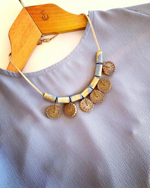 Crimped and Beaded Paper Necklace by Quilly Paper Design