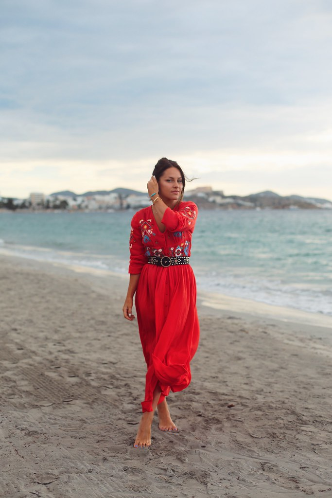 The Little Magpie Red embroidered midi dress
