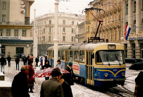tatrat4yu tatra tramway zagreb années90 zagrebackielektričnitramvaj zet croatie croatia hrvatska strasenbahn