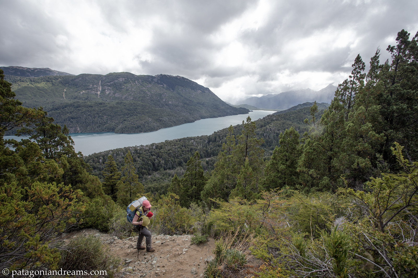 Crossing an unnamed pass above the Lago Mascardi in Parque Nacional Nahuel Huapi. Rio Negro. Patagonia. Argentina.