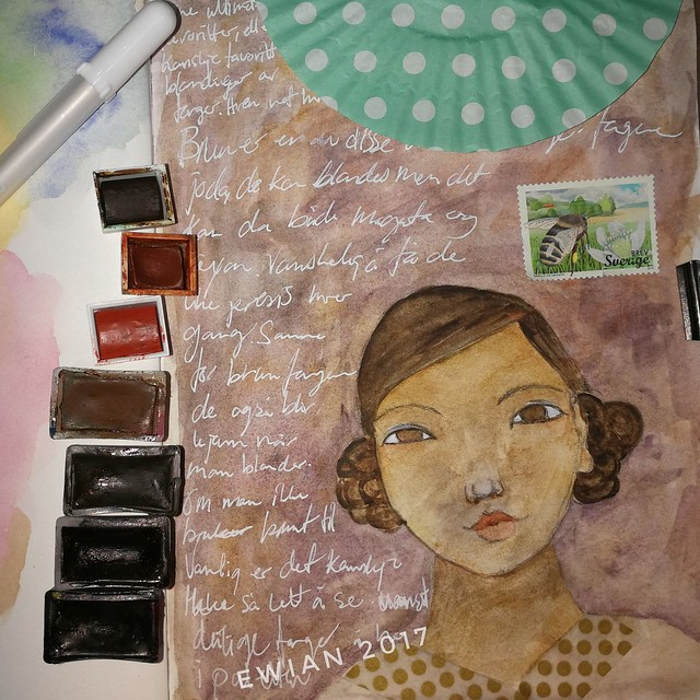 playing with brown watercolour girl