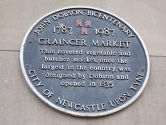 Photo of Grainger Market and John Dobson black plaque
