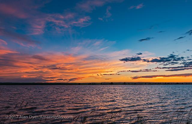 Sunset at MacGregor Lake with Waxing Moon