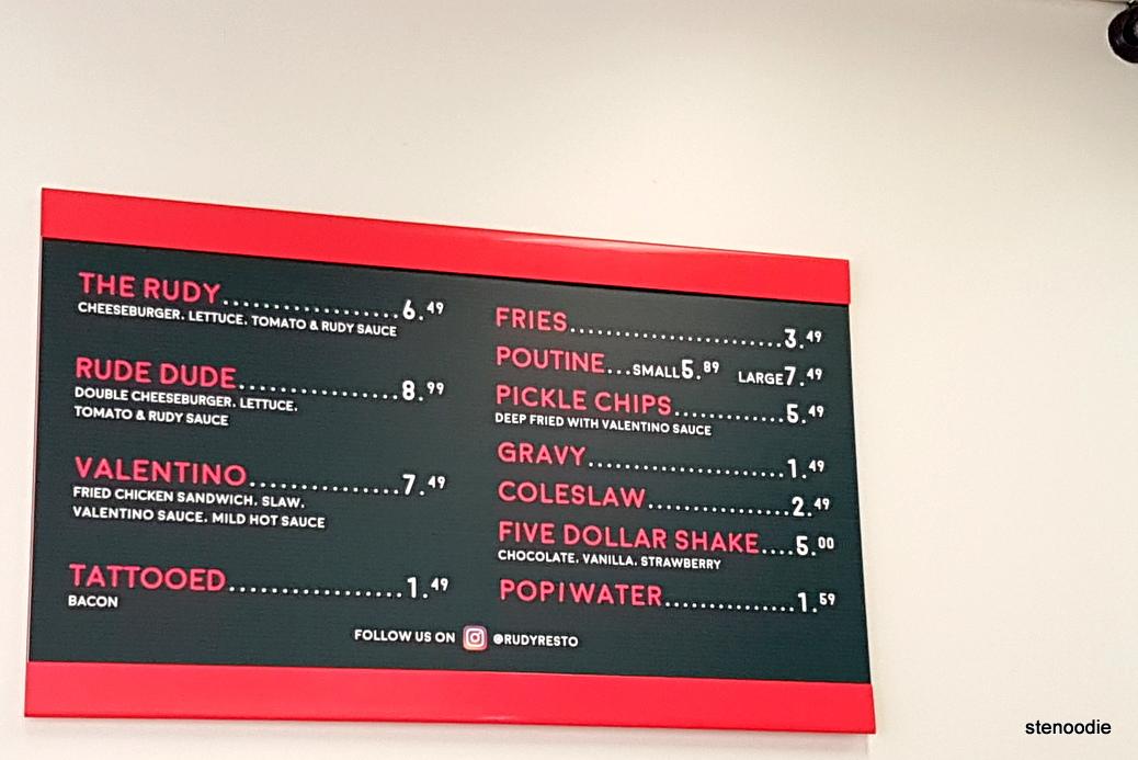 Rudy burger menu and prices