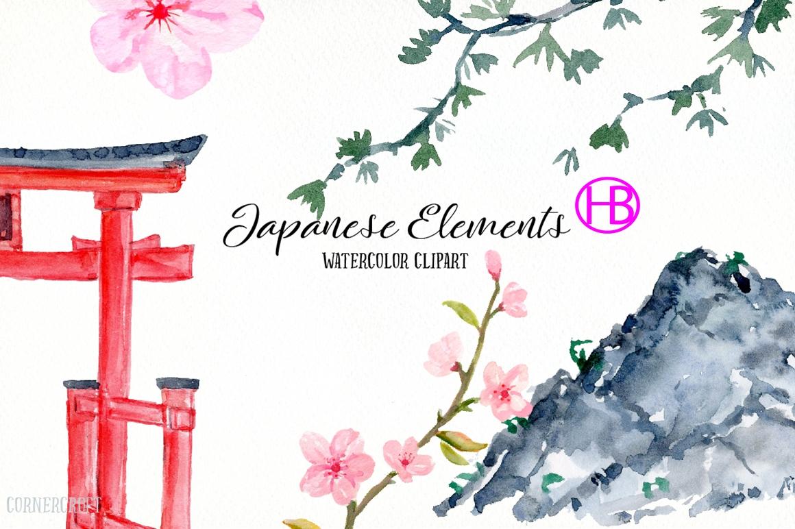 Bộ element tranh sơn nước Nhật Bản