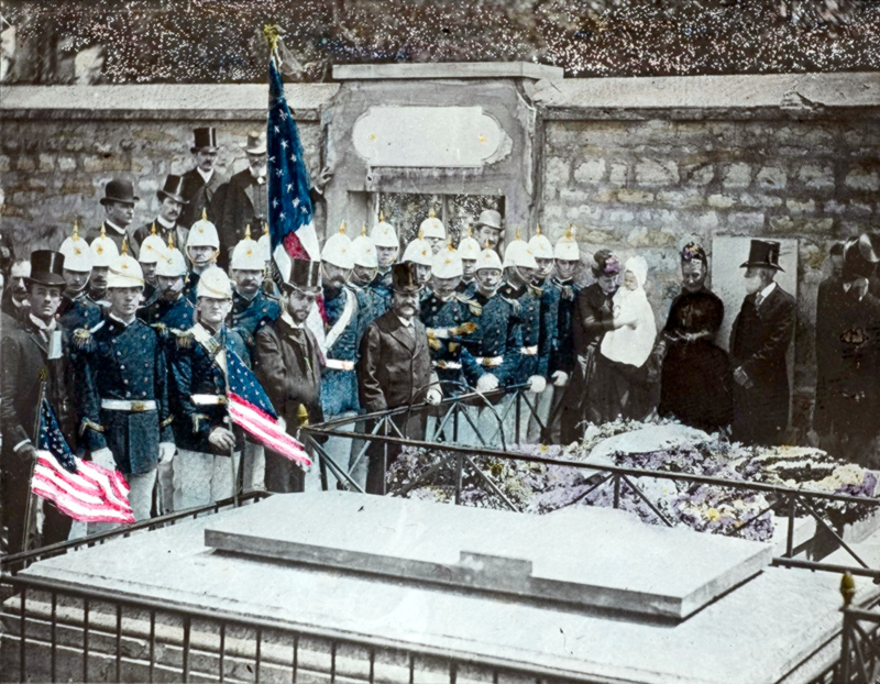US Marines Decorating Grave of Lafayette, Picpus Cemetery, Paris 1889