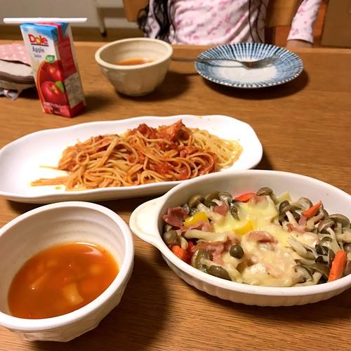外泊中の自宅での久しぶりの夕飯