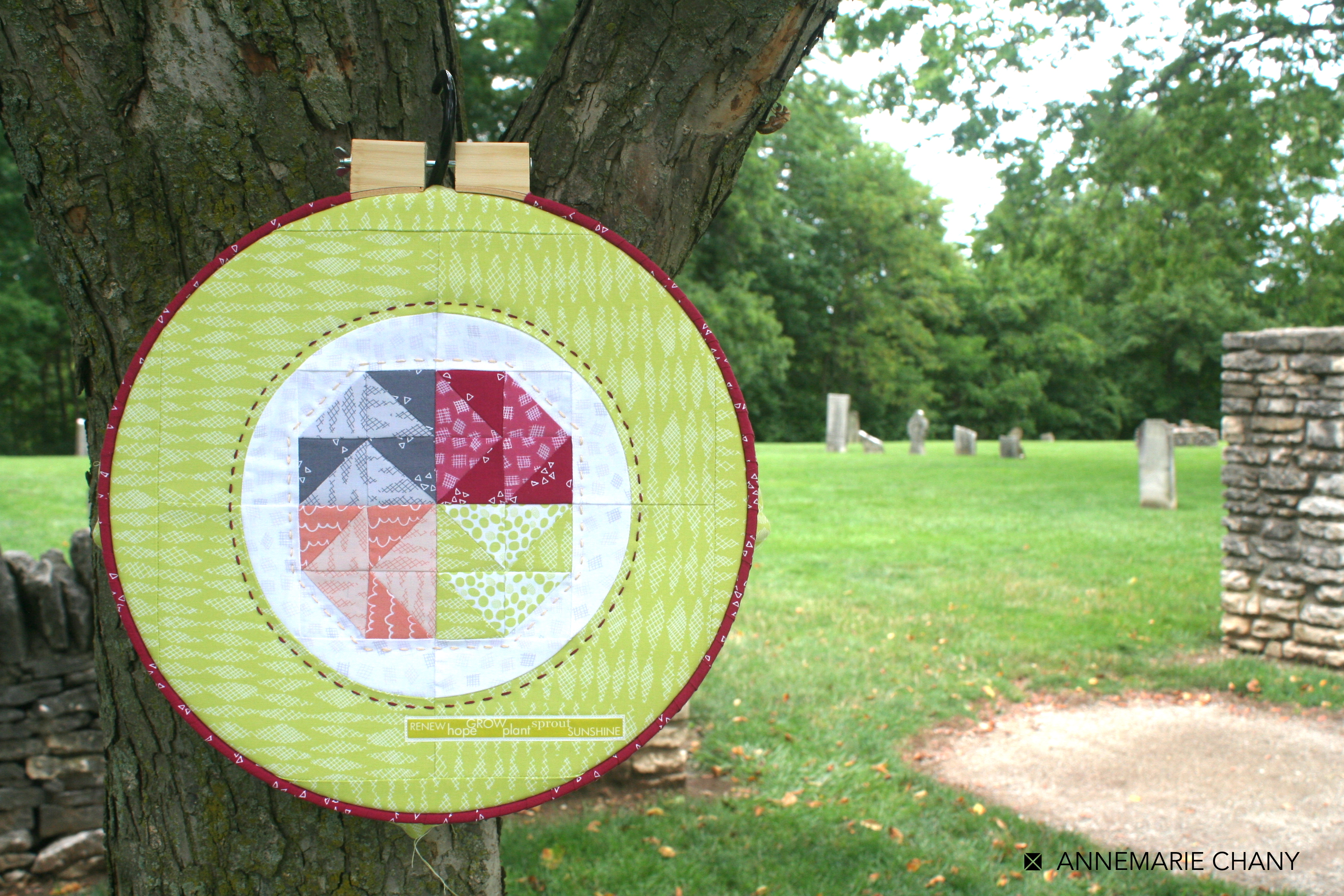 Improv Hoop Quilt cemetary by AnneMarie Chany